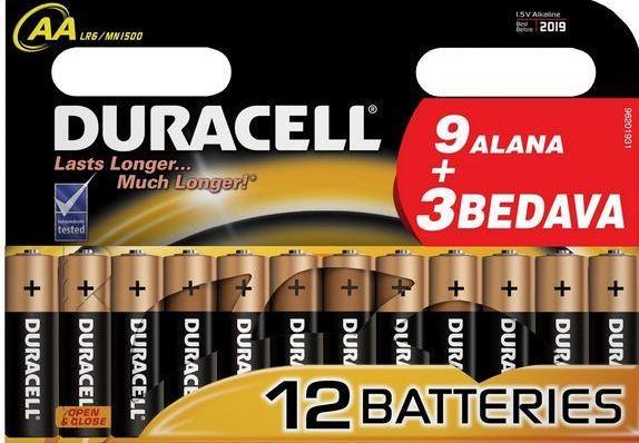 Duracell AA Kalem Pil Alkalin Ekonomik Paket 12`li