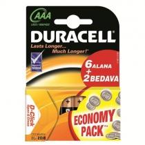 Duracell AAA �nce Kalem Pil Alkalin Ekonomik Paket 6+2 8`Li